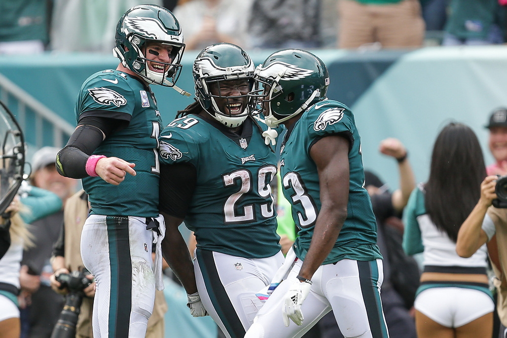 Philadelphia Eagles wide receiver Nelson Agholor #13 celebrates with running back LeGarrette Blount #29 and quarterback Carson Wentz #11 after Agholor scored a touchdown during the NFL game between the Arizona Cardinals and the Philadelphia Eagles at Lincoln Financial Field in Philadelphia on Sunday October 8th 2017. (Brian Garfinkel/Philadelphia Eagles)