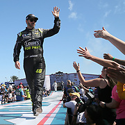 Jimmie Johnson, driver of the (48) Lowe's for Pros Chevrolet is seen during driver introductions for the 60th Annual NASCAR Daytona 500 auto race at Daytona International Speedway on Sunday, February 18, 2018 in Daytona Beach, Florida.  (Alex Menendez via AP)