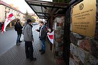 Bialystok, 20.12.2019. Pikieta przed konsulatem bialoruskim przeciwko aneksji Bialorusi przez Rosje w zwiazku z piatkowym spotkaniem Wladimira Putina i Aleksandra Lukaszenki, podczas ktorego maja oni dyskutowac o poglebieniu integracji Rosji i Bialorusi, co wg niektorych niezaleznych obserwatorow moze doprowadzic do likwidacji Bialorusi jako samodzielnego panstwa fot Michal Kosc / AGENCJA WSCHOD