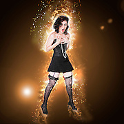 Digitally enhanced image of a surprised showgirl in lingerie and stockings