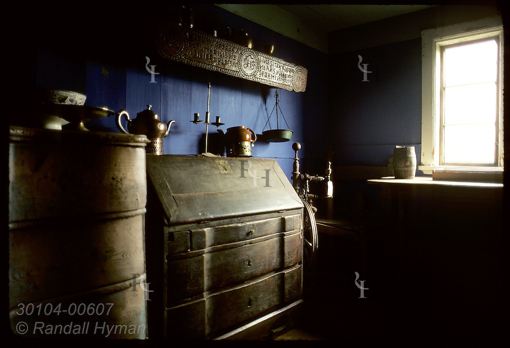 Interior of room furnished with wooden chests at the Glaumbaer farm museum. Iceland