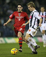 Photo: Rich Eaton.<br /> <br /> West Bromwich Albion v Cardiff City. Coca Cola Championship. 20/02/2007. Cardiffs Peter Whittingham left tracks down West Broms Martin Albrechtsen