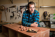 Chris Patton of Patton Design poses for a portrait at his studio in Campbell, California, on November 13, 2015. (Stan Olszewski/SOSKIphoto)