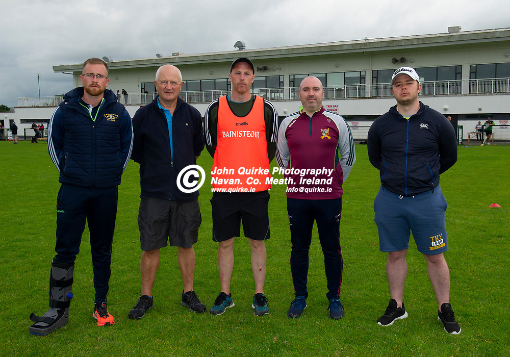 13-07-21. Meath v Wicklow - All-Ireland U-20 B Hurling Championship (Richie McElligott Cup) 2021 at St. Loman's Park, Trim.<br />Meath Selectors from left, James Andrews, John Brennan, Peter Durnin (Manager), Ciaran Regan and Neil Heffernan.<br />Photo: John Quirke / www.quirke.ie<br />©John Quirke Photography, 16 Proudstown Road, Navan. Co. Meath. (info@quirke.ie / 046-9028461 / 087-2579454).