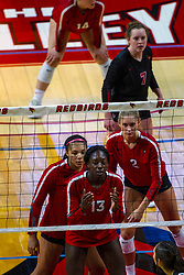 BLOOMINGTON, IL - September 14: Front row - Emmy Ogogor, Kaylee Martin Kendee Hillard and Taylor Lynch during a college Women's volleyball match between the ISU Redbirds and the University of Central Florida (UCF) Knights on September 14 2019 at Illinois State University in Normal, IL. (Photo by Alan Look)