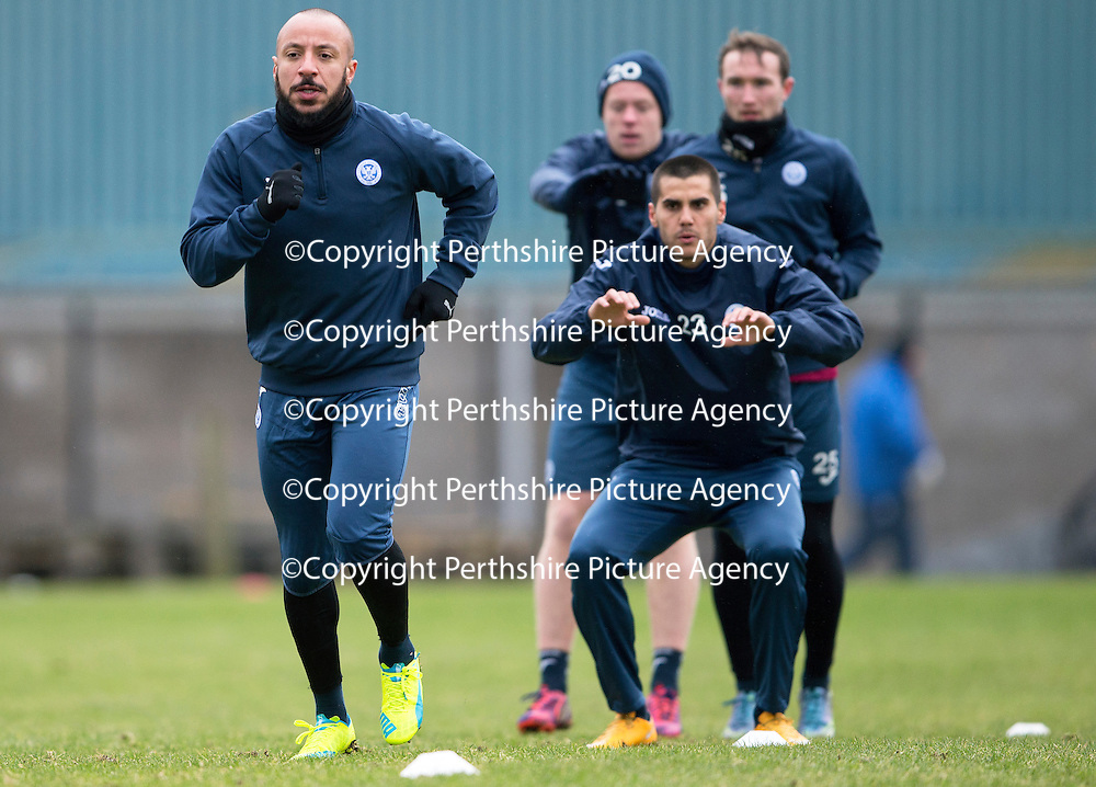 Trialists Julien Faubert and Plamen Krachunov pictured during training this morning at McDiarmid Park<br />Picture by Graeme Hart.<br />Copyright Perthshire Picture Agency<br />Tel: 01738 623350  Mobile: 07990 594431