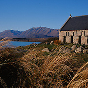 A panoramic view of The Church of the Good Shepherd situated on the shores of Lake Tekapo.  It was the first church built in the Mackenzie Basin in 1935 and is now an iconic tourist attraction. Lake Tekapo, South Island, New Zealand. Photo Tim Clayton.