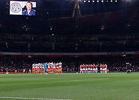 Football - 2018 / 2019 EFL Carabao (League) Cup - Fourth Round: Arsenal vs. Blackpool<br /> <br /> <br /> Both teams pay their respects to the Leicester City Chairman who died in the helicopter crash at the weekend at The Emirates.<br /> <br /> COLORSPORT/DANIEL BEARHAM