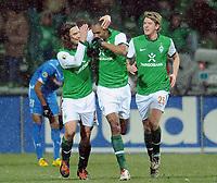 Fotball<br /> Tyskland<br /> 09.02.2010<br /> Foto: Witters/Digitalsport<br /> NORWAY ONLY<br /> <br /> Jubel 1:0 v.l. Torsten Frings, Naldo, Peter Niemeyer Bremen<br /> DFB-Pokal Viertelfinale Werder Bremen - TSG 1899 Hoffenheim