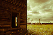 Abandoned wood barn in a field of grass