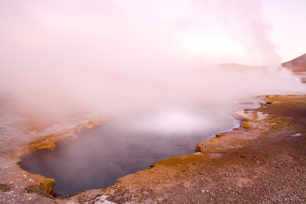 Natural hot spring pool at an altitude of 4300m, El Tatio Geysers, Atacama desert, Antofagasta Region, Chile, South America