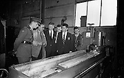 18/10/1962<br /> 10/18/1962<br /> 18 October 1962<br /> Senior Military Cadets visit Bowaters Irish Wallboard Mills Ltd. at Athy, Co. Kildare. The Cadets from the Military College, on the first of many visits to Irish Industry as part of the curriculum outside of military studies. Listening to Mechanical Shop foreman Mr. C. McKenna, (2nd from left) describe the grinding machine are (l-r): Lieutenant B. Studdert; Cadet J.P. Smyth; Cadet M. Canavan; Cadet P. Mulligan and  machine operator J. Maher.