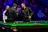 An impromptu game of Rock Paper Scissors between Ronnie O'Sullivan & Mark Selby ahead of their Quarter Final at the 19.com Home Nations Scottish Open at the Emirates Arena, Glasgow, Scotland on 13 December 2019.