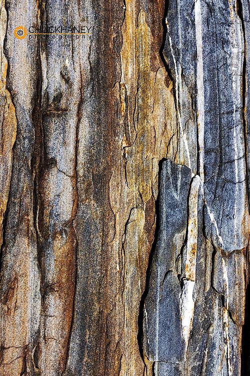 Striated rock at Pemaquip Point, Maine, USA