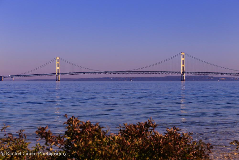 """Span of Mackinac Bridge""<br /> <br /> Beautiful Mackinac Bridge spanning the straits of Mackinac from McGulpin Point."