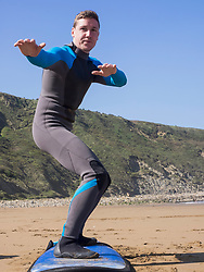 Surf lesson on Sopela Beach, Biscay, Basque Country, Spain