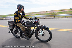 Shinya Kimura riding his Team-80 1915 Indian twin during the Shinya Kimura of Japan rides his 1915 Indian through Kansas during the Motorcycle Cannonball Race of the Century. Stage-8 from Wichita, KS to Dodge City, KS. USA. Saturday September 17, 2016. Photography ©2016 Michael Lichter.