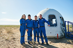 Handout photo dated October 13, 2021 of the crew of NS-18 at crew capsule recovery. Hollywood actor William Shatner has become the oldest person to go to space as he blasted off aboard the Blue Origin sub-orbital capsule. The 90-year-old, who played Captain James T Kirk in the Star Trek films and TV series, took off from the Texas desert with three other individuals. Mr Shatner's trip on the rocket system - developed by Amazon.com founder Jeff Bezos - lasted about 10 minutes. Photo by Blue Origin via ABACAPRESS.COM