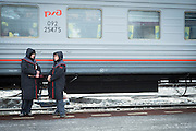 Train staff for the BAM (Baikal-Amur Mainline), Vikhorevka station, district of Irkutsk. Siberia, Russia