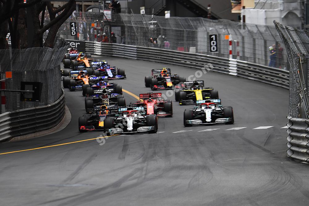 Lewis Hamilton (Mercedes) leads the field at the start of the 2019 Monaco Grand Prix. Photo: Grand Prix Photo