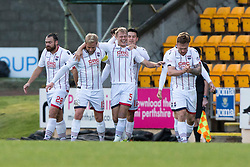 Ross County's Jay McEveley cele scoring their first goal. half time : St Johnstone 0 v 2 Ross County. SPFL Ladbrokes Premiership game played 19/11/2016 at St Johnstone's home ground, McDiarmid Park.