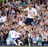Photo: Chris Ratcliffe.<br /> Tottenham Hotspur v Portsmouth. The Barclays Premiership. 01/10/2006.<br /> Michael Dawson of Spurs celebrates Jermaine Defoe scoring the second goal.