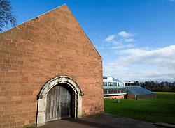 Exterior of Burrell Museum in Pollock Park in Glasgow Scotland