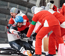 11.02.2018, Olympic Sliding Centre, Pyeongchang, KOR, PyeongChang 2018, Rodeln, Herren, 4. Lauf, im Bild v.l. David Gleirscher (AUT, 1. Platz und Goldmedaillengewinner), Wolfgang Kindl (AUT) und Teamkollegen // f.l. gold medalist and Olympic champion David Gleirscher of Austria Wolfgang Kindl of Austria and his Team during the Men's Luge Singles Run 4 competition at the Olympic Sliding Centre in Pyeongchang, South Korea on 2018/02/11. EXPA Pictures © 2018, PhotoCredit: EXPA/ Johann Groder
