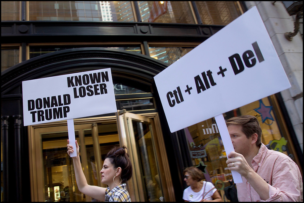 Protestors across the street from Trump Tower on 5th Avenue in New York City on September 24, 2019.