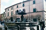 Historic water fountain in town street at Tuscania, Viterbo, Lazio Region, Italy 1998