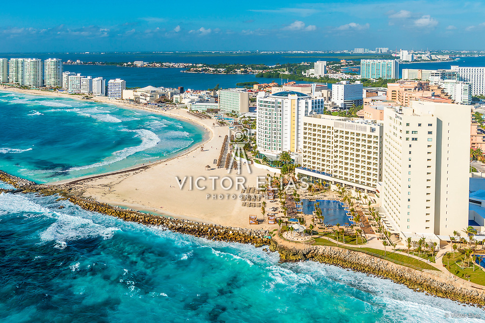Aerial View of Hyatt Ziva and Punta Cancun. Quintana Roo, Mexico.