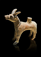 Bronze Age Anatolian terra cotta antilope shaped ritual vessel- 19th to 17th century BC - Kültepe Kanesh - Museum of Anatolian Civilisations, Ankara, Turkey.  Against a black background. .<br /> <br /> If you prefer to buy from our ALAMY PHOTO LIBRARY  Collection visit : https://www.alamy.com/portfolio/paul-williams-funkystock/kultepe-kanesh-pottery.html<br /> <br /> Visit our ANCIENT WORLD PHOTO COLLECTIONS for more photos to download or buy as wall art prints https://funkystock.photoshelter.com/gallery-collection/Ancient-World-Art-Antiquities-Historic-Sites-Pictures-Images-of/C00006u26yqSkDOM