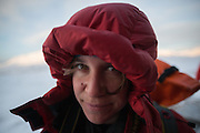 Mylène Jacquemart out in the cold in Foxdalen, Svalbard.