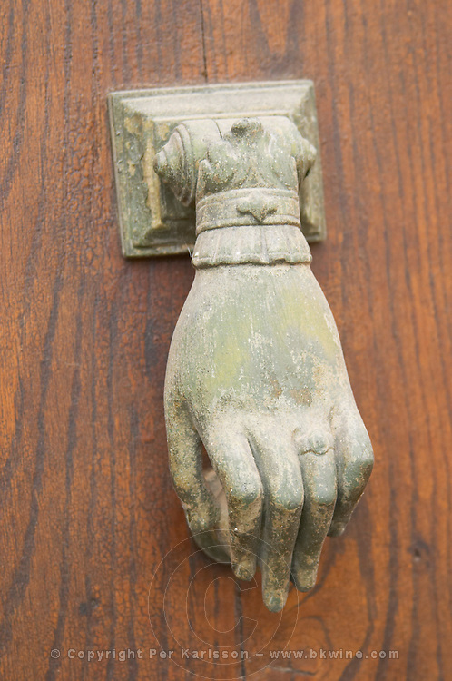 Chateau Mansenoble. In Moux. Les Corbieres. Languedoc. A door. A knocker. France. Europe.