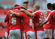 Fabian Robert goal celebration during the Sky Bet League 1 match between Swindon Town and Rochdale at the County Ground, Swindon, England on 12 December 2015. Photo by Daniel Youngs.