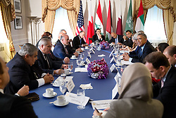 President Barack Obama convenes a meeting with Arab coalition leaders in the fight against the terrorist group ISIL in Iraq and Syria, at the Waldorf Astoria Hotel in New York, N.Y., Sept. 23, 2014. (Official White House Photo by Pete Souza)<br /> <br /> This official White House photograph is being made available only for publication by news organizations and/or for personal use printing by the subject(s) of the photograph. The photograph may not be manipulated in any way and may not be used in commercial or political materials, advertisements, emails, products, promotions that in any way suggests approval or endorsement of the President, the First Family, or the White House.