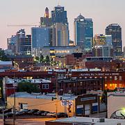 Kansas City Skyline Wide Angle Panorama from Percheron Rooftop Bar atop the Crossroads Hotel.