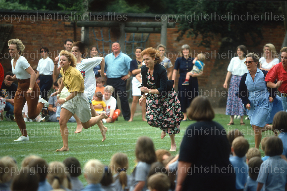 Sarah, Duchess of York seen taking part in Upton House school sports day, Windsor,UK, in June 1993. Photographed by Jayne Fincher.