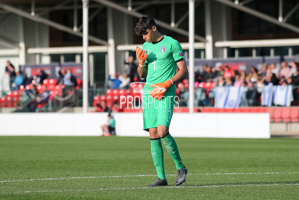 Alessandro Russo of Italy (1) during the UEFA European Under 17 Championship 2018 match between Israel and Italy at St George's Park National Football Centre, Burton-Upon-Trent, United Kingdom on 10 May 2018. Picture by Mick Haynes.