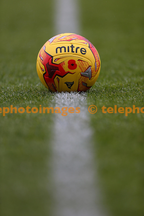 The match ball bearing a poppy to commemorate Armistice Day before the Sky Bet League 2 match between Crawley Town and Cambridge United at the Checkatrade Stadium in Crawley. November 12, 2016.<br /> James Boardman / Telephoto Images<br /> +44 7967 642437