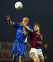 Photo. Chris Ratcliffe, Digitalsport<br /> NORWAY ONLY<br /> <br /> West Ham United v Ipswich Town. Division One Play-off Semi-final 2nd leg. 18/05/2004<br /> David Connolly of West Ham and Matt Richards go up for the ball