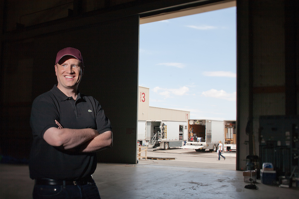 """During a break in filming, Marvel Studios president Kevin Feige poses for a portrait on the set of the upcoming movie """"The Avengers"""" in Albuquerque NM on Thursday, July 14, 2011."""