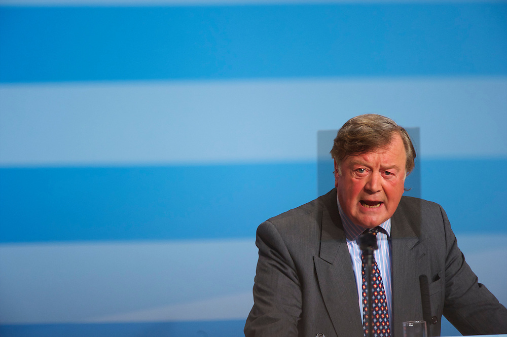 Secretary of State for Justice Kenneth Clarke is framed within a teleprompter during an address to delegates on the third, and penultimate, day of the Conservatives Party Conference at the ICC, Birmingham, England on October 5, 2010.  This is the first conference since the government coalition with the Liberal Democrats.