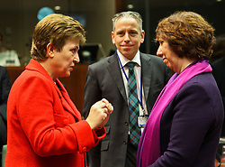 EU's High Representative for Foreign Affairs and Security Policy Catherine Ashton (R) talks with EU Commissioner for International Cooperation, Humanitarian Aid and Crisis Response Kristalina Georgieva prior to an EU foreign ministers meeting at EU headquarters in Brussels, capital of Belgium, on Jan. 31, 2013. The Foreign Ministers Meeting will discuss the situation in the EU s southern neighbourhood, in particular in Syria and Egypt, and will prepare the forthcoming European Council debate on the Arab Spring. , January 31, 2013. Photo by Imago / i-Images..UK ONLY