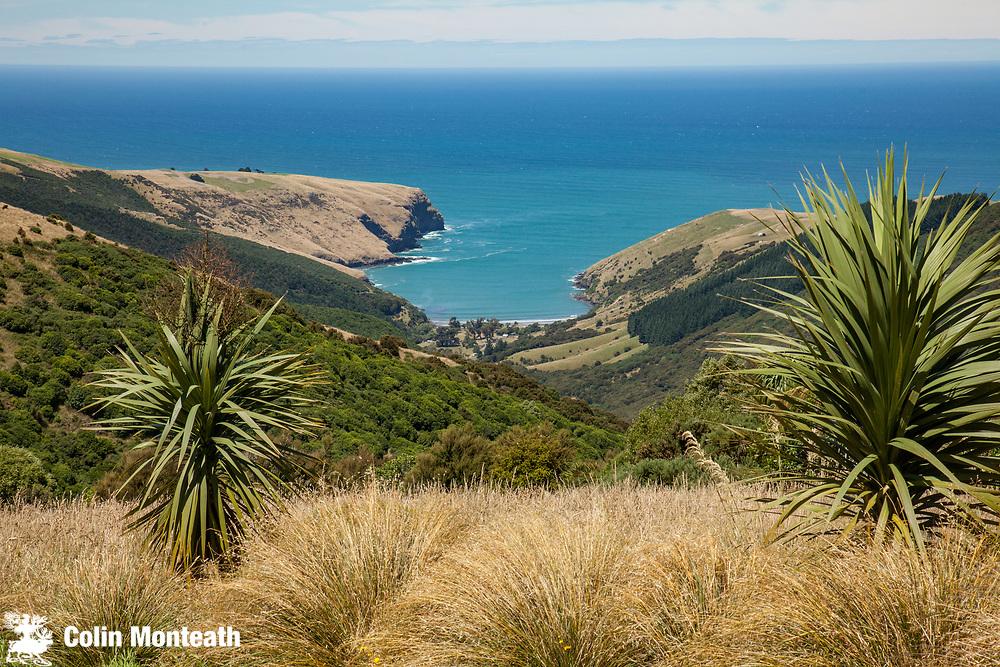 Otanarito bay, a view from Hinewai Nature Reserve, Banks Peninsula, Canterbury