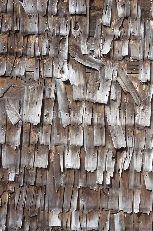 close up of weathered wood shingles