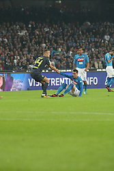 October 21, 2017 - Napoli, Campania/Napoli, Italy - Action during soccer match between SSC Napoli  and  F.C.Inter    at San Paolo  Stadium in Napoli .final result Napoli vs. F.C.Inter 0-0.In picture in order L to R: Ivan Perisic (F.C.Inter) and José María Callejón  (Credit Image: © Salvatore Esposito/Pacific Press via ZUMA Wire)