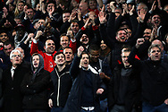 Arsenal fans taunt the Chelsea fans. Carabao Cup , semi final 1st leg match, Chelsea v Arsenal at Stamford Bridge in London on Wednesday 10th January 2018.<br /> pic by Steffan Bowen, Andrew Orchard sports photography.