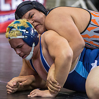 022015       Cable Hoover<br /> <br /> Gallup Bengal Troy Joe forces Goddard Rock Leonardo Anchondo to the mat during the New Mexico State Wrestling Tournament at the Santa Ana Star Center in Albuquerque Friday.