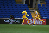 Tom Clarke of Preston North End (5) celebrates after he scores his teams 1st goal. EFL Skybet championship match, Cardiff city v Preston North End at the Cardiff city stadium in Cardiff, South Wales on Friday 29th December 2017.<br /> pic by Andrew Orchard, Andrew Orchard sports photography.